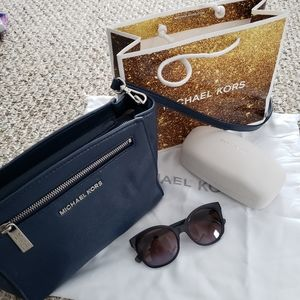 Michael Kors Navy Leather Purse and Sunglasses